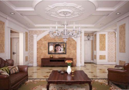 客厅石膏线装修效果与石膏线的黏贴方式